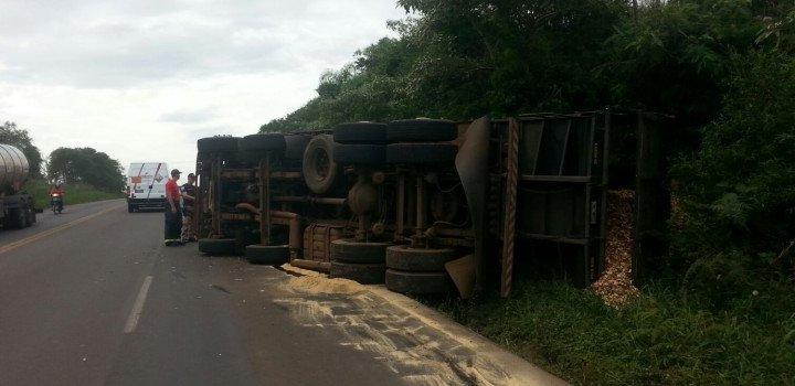 Caminhão carregado de cavaco de madeira tomba na BR 282