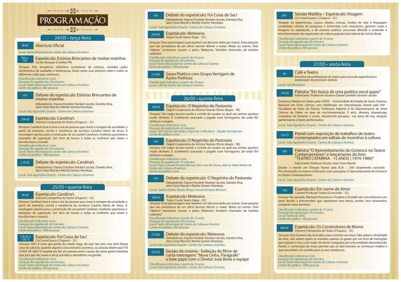 Lançada a programação oficial do Festival Nacional de Teatro de Chapecó