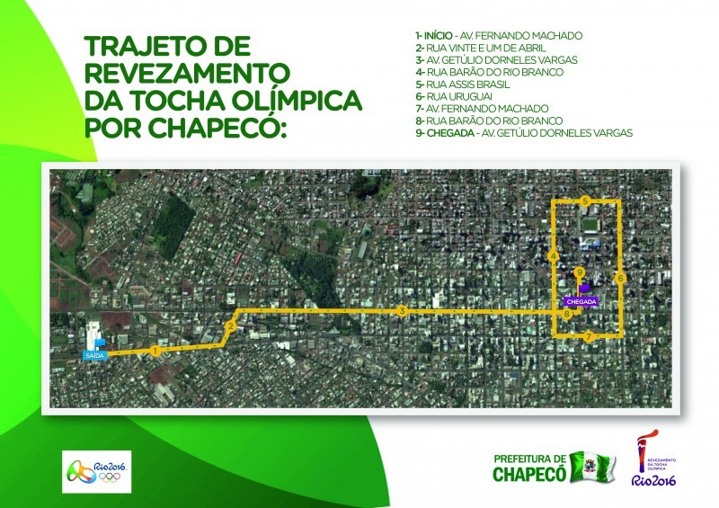 Definido o trajeto do revezamento da Tocha Olímpica em Chapecó