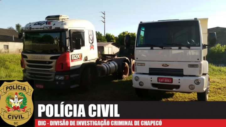 Dois caminhões roubados são recuperados pela Polícia Civil em Chapecó