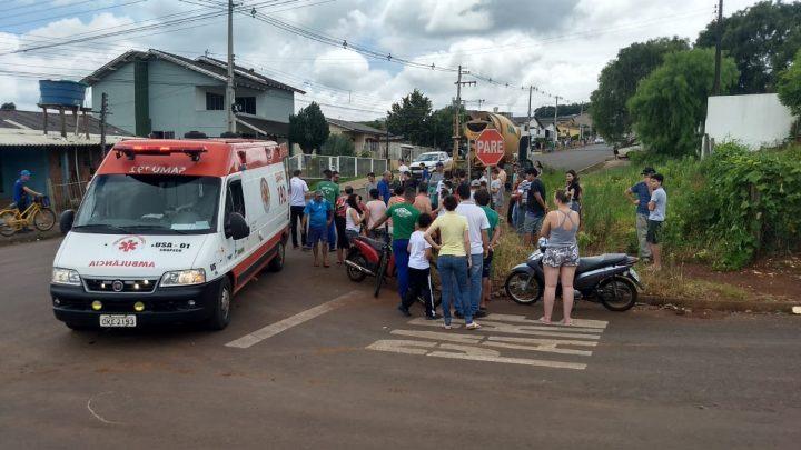 Menor é atropelado por caminhão no Eldorado em Chapecó