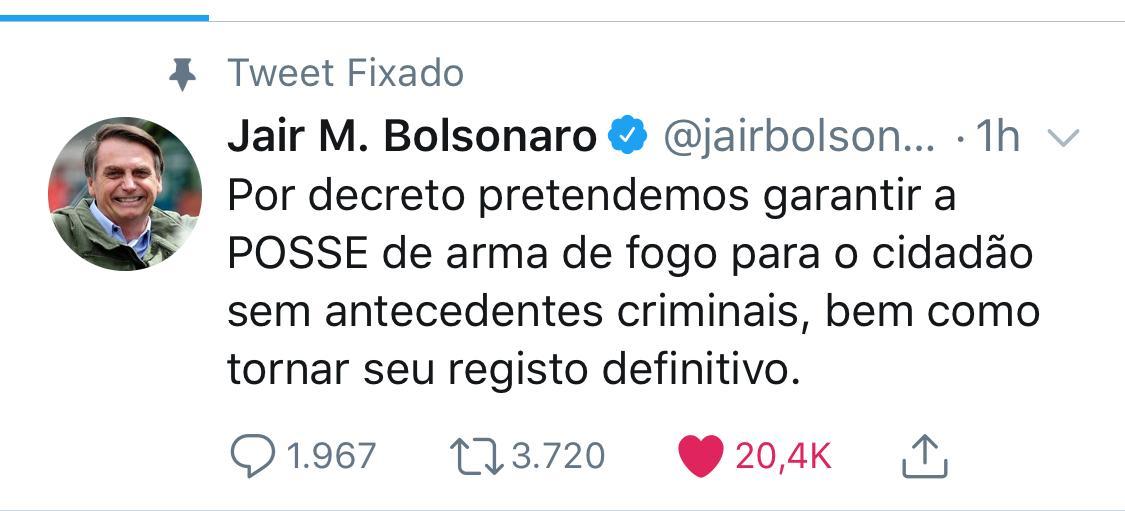Bolsonaro anuncia decreto para facilitar posse de arma a quem não tem antecedente criminal