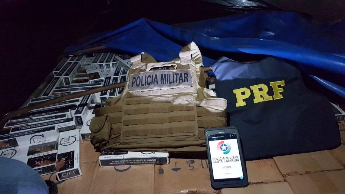 Ação conjunta PRF, PM e Polícia Civil apreende 280 mil maços de cigarros contrabandeados no oeste de SC