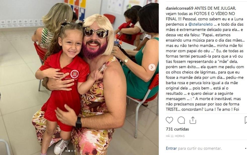 Pai viúvo se veste de 'mãe' para participar com filha de festa do Dia das Mães
