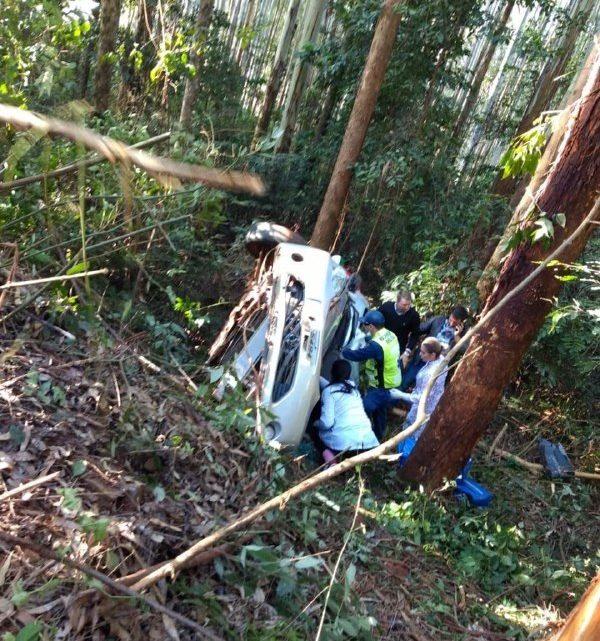 Veículo sai da pista e bate em árvore no interior de Sul Brasil