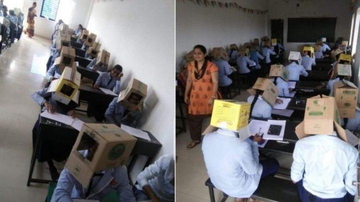 Estudantes fazem prova com caixa de papelão na cabeça para não 'colar' na prova