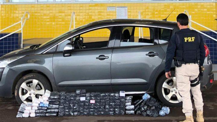 Casal argentino é flagrado com 93 celulares importados escondidos veículo na BR 163 em Guaraciaba
