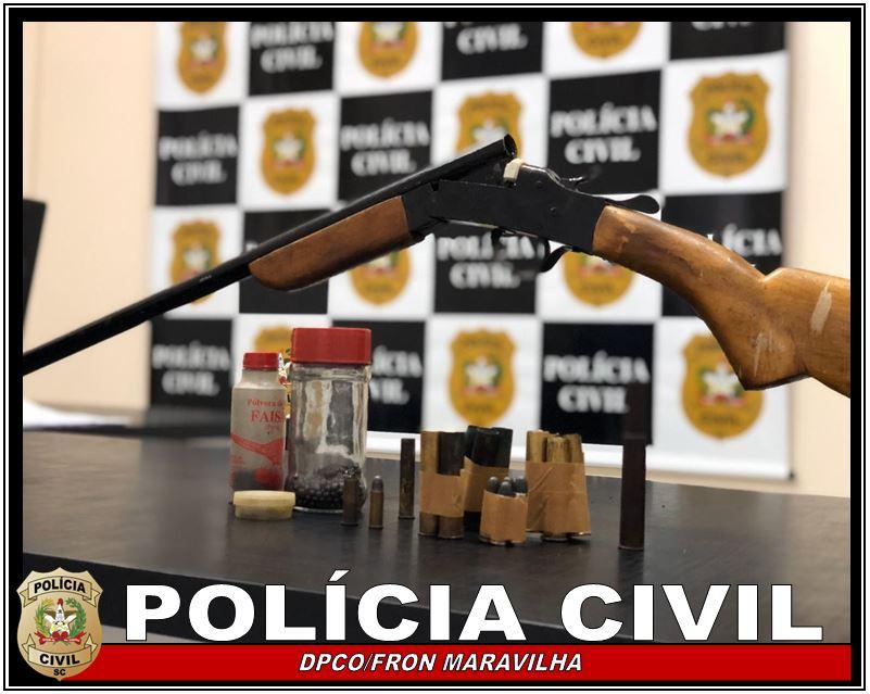 Polícia Civil apreende arma relacionada á investigação de violência doméstica em Maravilha