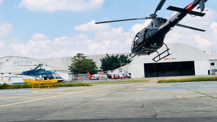 Helicóptero da PRF leva testes de Covid-19 para o Sul do país