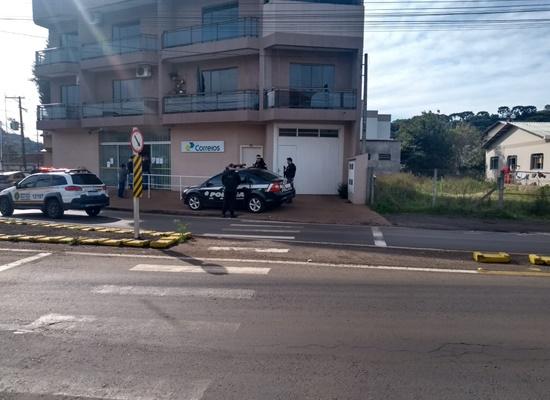 BM faz buscas por bandidos que fizeram assalto em agência dos correios em Barão de Cotegipe-RS