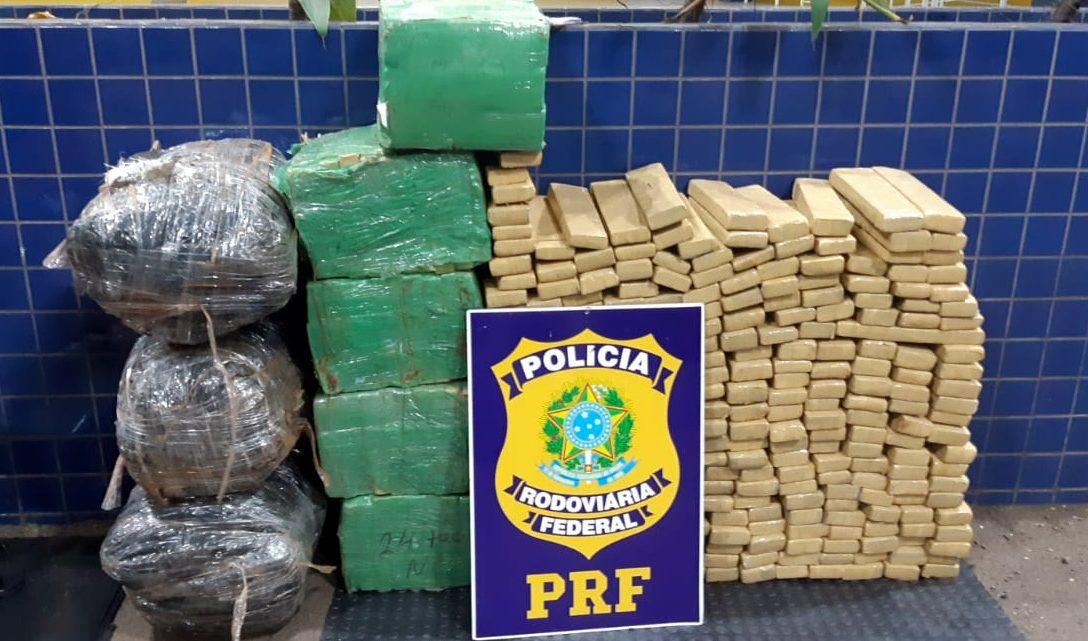 PRF apreende 370 quilos de maconha e skunk na BR-163 em Guaraciaba