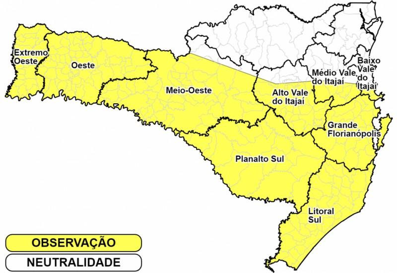 Defesa Civil alerta para temporais severos com riscos de estragos em SC
