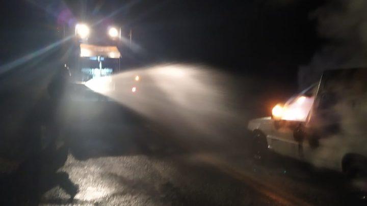 Veículo pega fogo na SC 482 entre Quilombo e Santiago do Sul