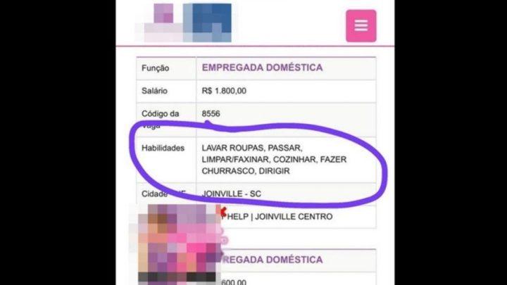 """Vaga para empregada doméstica exige """"fazer churrasco"""" e viraliza em SC"""