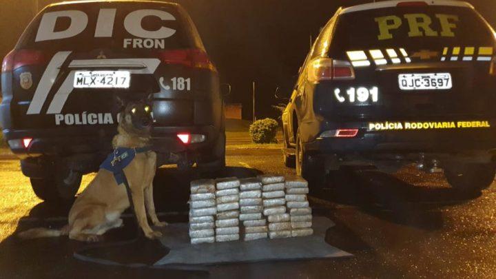 Vídeo: ação conjunta PRF e Civil apreende mais de R$ 1,8 milhão em cocaína na BR 158 em Cunha Porã