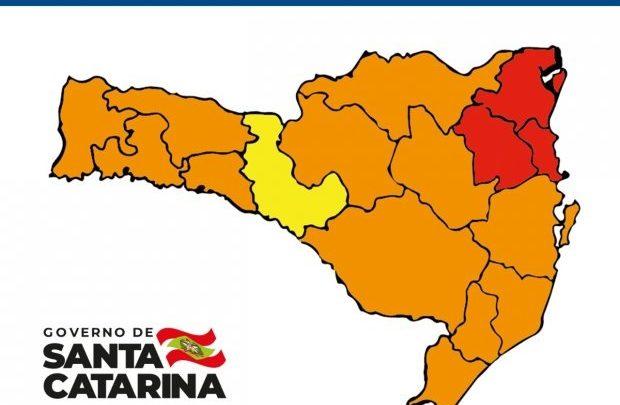 Matriz aponta uma região em risco alto e apenas três em risco gravíssimo em SC