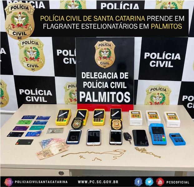 Polícia Civil de Palmitos prende em flagrante suspeitos da prática do crime de estelionato