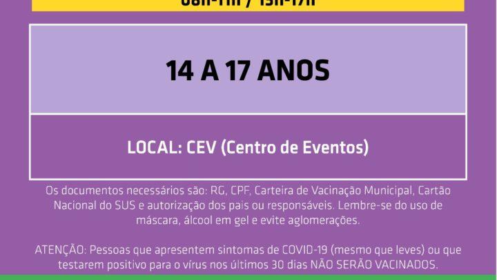 Prefeitura de Chapecó abre vacinação de 14 a 17 anos